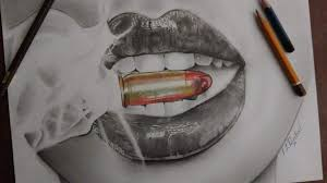 realistic lips with bullet drawing
