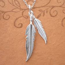 sterling silver double angel feather necklace swj34