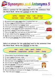 Synonyms vs Antonyms 5 | Antonyms | Pinterest | Worksheets ...