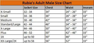 Rubies Size Chart Size Charts
