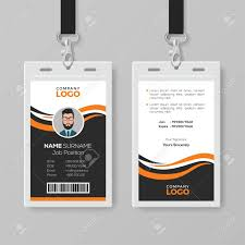 Company Id Card Template Creative Modern Id Card Template With Orange Details
