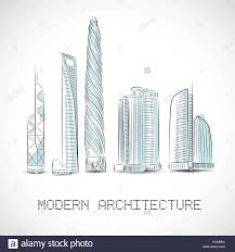modern architecture skyscrapers sketches. Simple Modern Buildings Collection Of Modern Skyscrapers Isolated Sketch Vector  Illustration Intended Modern Architecture Skyscrapers Sketches