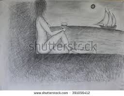 window pencil drawing. black and white pencil drawing a girl sitting on window with glass. looks #