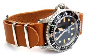 nato genuine tan leather watchstrap for steinhart ocean vintage military