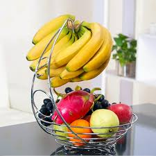 Amazon.com: Fruit Basket With Banana Holder - Chrome Metal Wire Hanger -  14.76