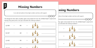 Missing Numbers Worksheets Adding And Subtracting Three Digit Numbers And Tens Missing Number