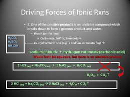 driving forces of ionic rxns 3 5 net ionic equations