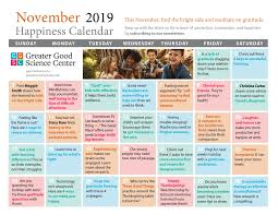 November November Calendar Your Happiness Calendar For November 2019