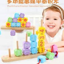 senarai harga multifunctional beading balance blocks baby montessori early wooden balancing blocks children s training beads blocks