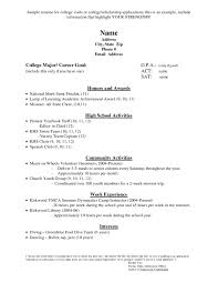 Sample Resumes For College Applications Resume High School Format