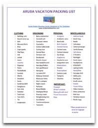 Vacation Packing Checklist Pdf Aruba Vacation Packing List