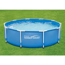 summer waves 11ft x 30 inch round metal frame above ground swimming pools at
