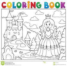 Princesse De Livre De Coloriage Pr S De Ch Teau Illustration De