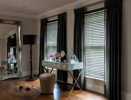 cool venetian blinds plus curtains and black floor lamp on wooden floor for home interior design