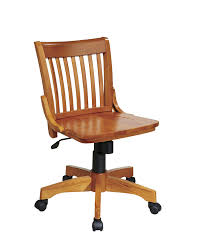 office chair with wheels. amazon.com: office star deluxe armless wood bankers desk chair with seat, fruit wood: kitchen \u0026 dining wheels h