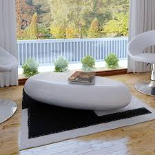 Modern Design High Gloss Coffee Table Fiber Glass White Living