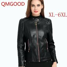 faux leather motorcycle jacket autumn winter leather jacket large size female coat faux leather motorcycle jacket