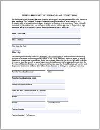 Consent Form Custom Generic Medical Consent Form For Minor 44 Reinadela Selva