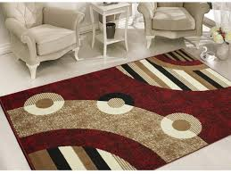 geometric circles area rug 5 x 7 abstract modern indoor living room carpet red