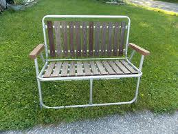 retro aluminum patio furniture. Vintage Folding Slat Cedar Wood Redwood Aluminum Patio Lawn Chair Bench Retro Outdoor Furniture Cast Garden .