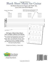 Amazon Com Blank Sheet Music For Guitar 100 Blank Manuscript Pages