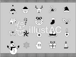 クリスマスのアイコンセット白黒 無料素材 イラスト かわいい