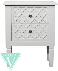 california white wood 2 drawer bedside cabinet with mirrored top