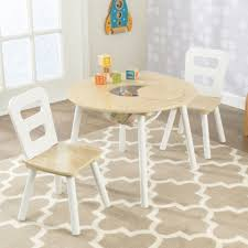 is your play area missing a kid inspired table the kidkraft white natural round table and chair set is multifunctional for all your play time needs