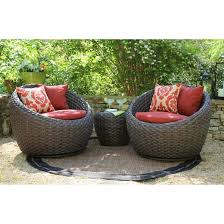 Corona 3 Piece Wicker Conversation Patio Furniture Set Tar
