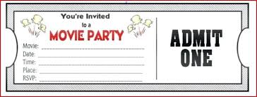 Printable Admit One Invitations Coolest Free Birthday Movie Themed