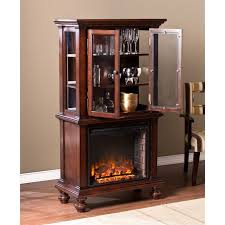 southern enterprises townsend curio cabinet with fireplace in espresso