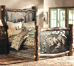 Aspen Log Bed w/ Metal Wildlife Scene - Queen
