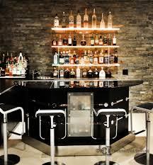 Home Bar W Led Floating Shelves Low Profile Liquor Display With - Home liquor bar designs