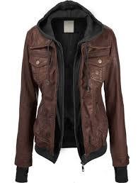 coffee plain false 2 in 1 long sleeve fashion pu leather jacket outerwears tops