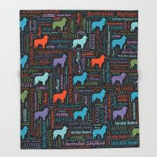 australian shepherd aussie word art throw blanket
