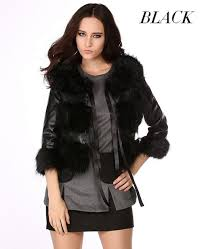 women leather jacket short faux fur outerwear coat new
