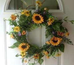 P Sunshine On My Shoulders Artificial Sunflower Wreath Will Look Summery  Hanging Up Any Front Door Wreaths