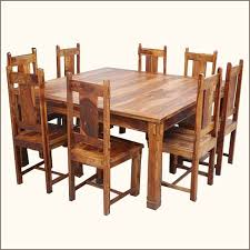 64 square dining table 8 chairs set rustic wood furniture