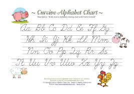 Kids Cursive Alphabets Tracing Chart With Farm Animals
