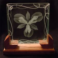Art Glass Display Stands Hand Crafted Layered Stacked Glass Lotus Flower 100d Etching In 61