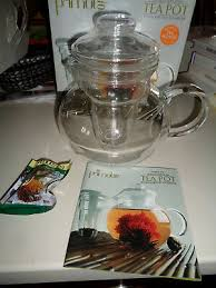 primula classic 40oz glass tea pot with infuser flowering teas nib