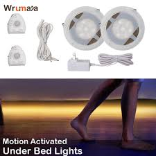 Led Ankle Lights Us 16 49 31 Off Wrumava Under Bed Lights Motion Sensor Led Light Strip With Automatic Shut Off Timer For Double Bed Warm White 2700k Dimmable In Led