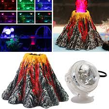 Dive Tank Light Kangkang Aquarium Volcano Shape Ornament Kit Fish Tank Decoration Colored Usb Port Led Dive Lamp Set For Decorate Aquarium Fish Tank