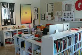 graphic designers office. desk design with bookshelf for home office decoration graphic designers