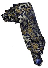 Damask Tie Midnight Dragons