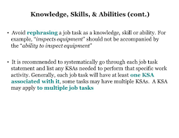 job analysis background research organizational charts e g avoid rephrasing a job task as a knowledge skill or ability