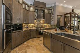 kitchens with dark cabinets and tile floors. Fine Tile Kitchen With Beige Granite Counters Travertine Tile Floor And Rich Wood  Cabinets On Kitchens With Dark Cabinets And Tile Floors