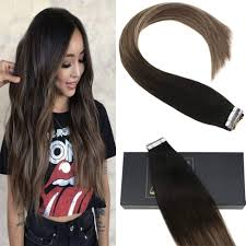 Sunny Hair Design Sunny Tape Hair Extensions Human Hair 14 Inch Tape In Balayage Extensions Off Black Fading To 4 Dark Brown Mixed 18 Ash Blonde Real Human Hair 20