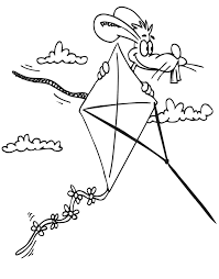 Small Picture Printable Summer Coloring page Rabbit on kite