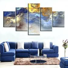 yellow and gray canvas wall art 5 set blue yellow grey abstract cloud no frame oil